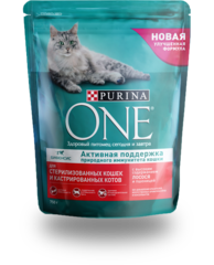 Purina One полноценный корм для стерилизованных кошек с лососем и пшеницей
