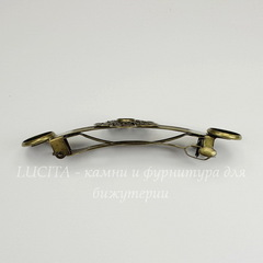 Основа для заколки - автомат с сеттингами для кабошона 6,5 мм и 12 мм, 87х25 мм  (цвет - античная бронза)