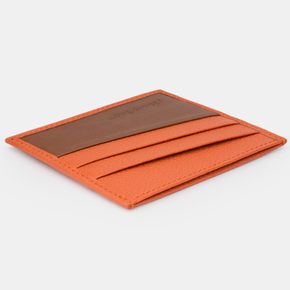 Картхолдер-визитница Carte Bicolor из натуральной кожи теленка, оранжевого цвета