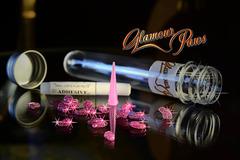 Антицарапки накладные коготки Glamour Paws/Гламурные лапки розовый с блестками S