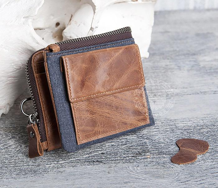 WL278-2 Необычное мужское портмоне из кожи с дополнительным отделением фото 02