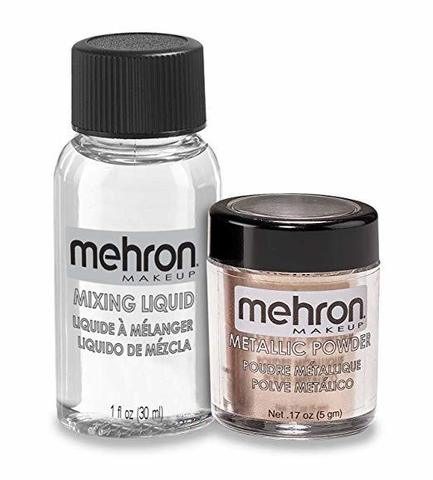MEHRON Металлическая пудра-порошок Metallic Powder (5 г) с жидкостью для смешивания Mixing Liquid (30 г), ROSE GOLD (Розовое Золото)