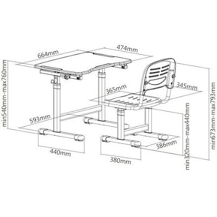 Комплект: парта и стул-трансформеры PICCOLINO размеры схема