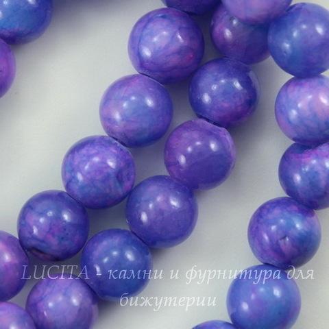 Бусина Жадеит (тониров), шарик, цвет - сиреневый с голубым, 6 мм, нить