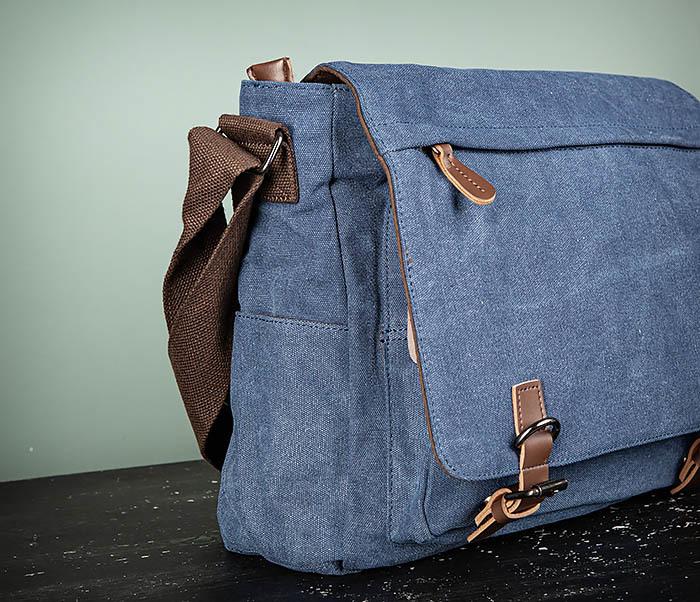 BAG504-3 Мужской портфель из плотного текстиля синего цвета фото 03