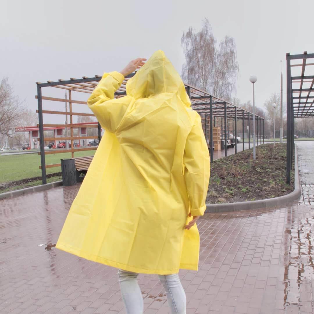 Желтый плащ дождевик с капюшоном