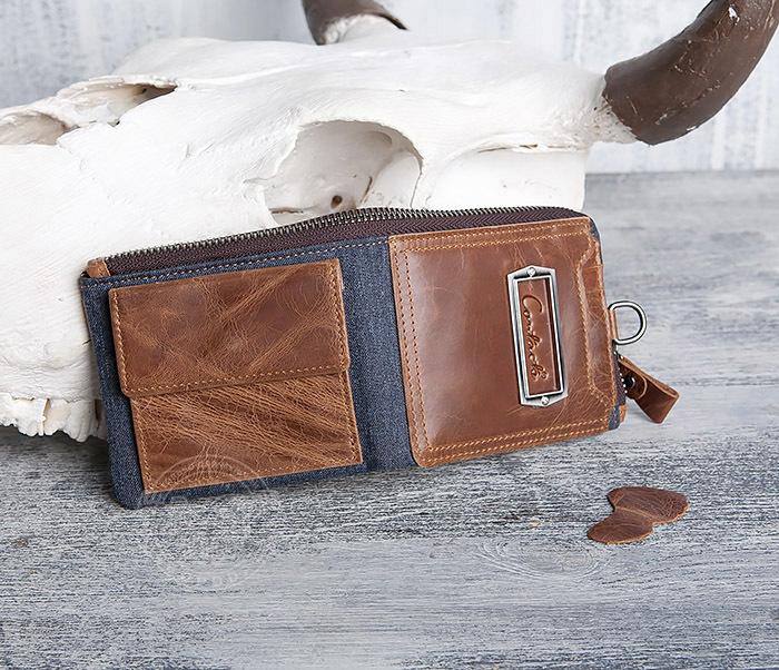 WL278-2 Необычное мужское портмоне из кожи с дополнительным отделением фото 03