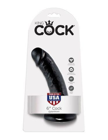 Фаллоимитатор на присоске черный King Cock 6 Cock Black фото