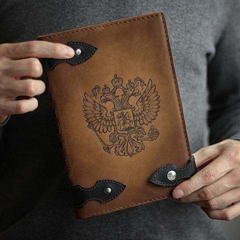 Ежедневник А5 с кнопкой недатированный ручной работы из толстой натуральной коричневой кожи
