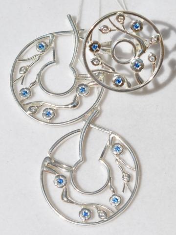 Палермо (кольцо + серьги из серебра)