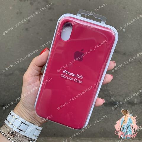 Чехол iPhone XR Silicone Case /rose red/ малиновый 1:1