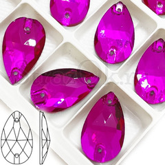 Стразы пришивные стеклянные Drope Fuchsia, Капля Фуксия розовый