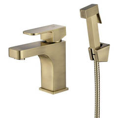 Смеситель для раковины Kaiser (Кайзер) Sonat 34088-1 Bronze с гигиеническим душем, однорычажный, цвет - бронза
