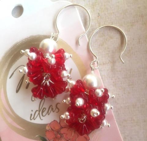 Набор для создания серёжек гроздьев с чешскими цветочками ()