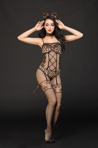Костюм кошки Candy Girl Kandi (костюм-сетка, топ, трусы с хвостом, чокер, головной убор) черно-леопардовый, OS фото