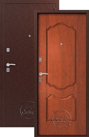 Стальная дверь Сибирь S-1/1, 1 замок, 1 мм  металл (медь+итальянский орех)