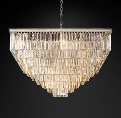 1920S Odeon Clear Glass Fringe Square 7-Tier Chandelier