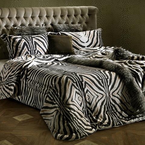 Постельное белье 2 спальное евро Roberto Cavalli Zebrato 001 nero-beige черное