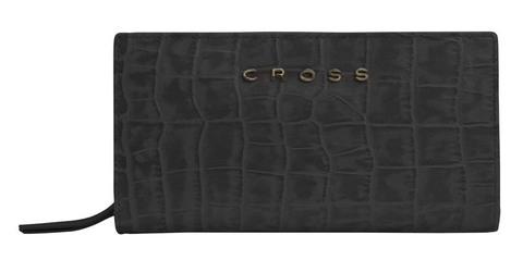 Клатч-кошелёк Cross Bebe Coco, кожа наппа фактурная, цвет чёрный/розовый, 18 х 10 х 3 см
