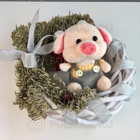 Поросёнок брелок Мистер Хрю символ 2019 года свинья (желтый-серый)
