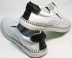 Красивые слипоны туфли мужские летние кожаные Ridge Z-441 White Black.