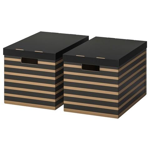 ПИНГЛА Коробка с крышкой, черный, естественный, 56x37x36 см