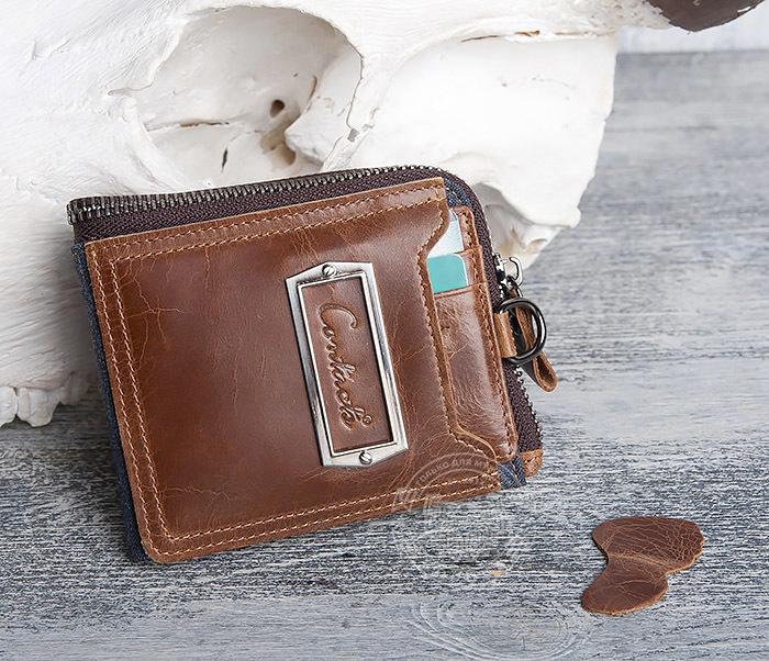WL278-2 Необычное мужское портмоне из кожи с дополнительным отделением фото 09