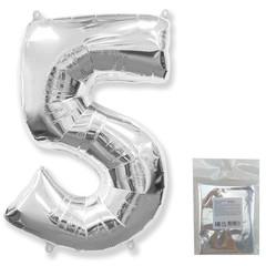 Цифра, 5, Серебро, F 40''/102 см, 1 шт. в упаковке