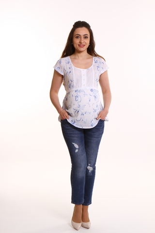 Блузка для беременных 01775 белый-синий