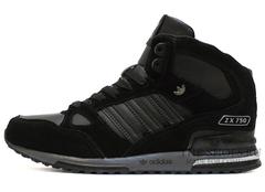 Кроссовки Мужские Adidas ZX 750 MID Black (с Мехом)