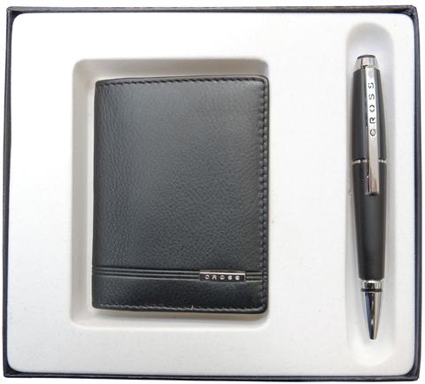 Набор подарочный Cross, 2 пр. Состав набора:чехол для кредитных карт и ручка.