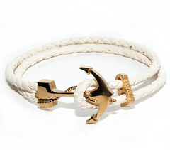 Браслет с якорем Nialaya Men's White Leather Bracelet with Gold Anchor из натуральной кожи