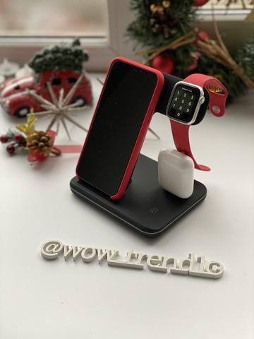 Беспроводная зарядка стенд Smart 3 in 1 Fast 15w /black/
