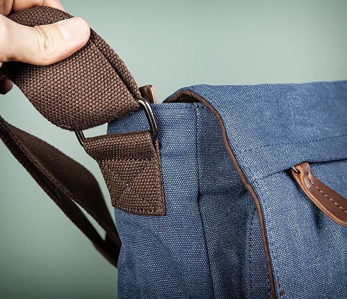 BAG504-3 Мужской портфель из плотного текстиля синего цвета фото 04