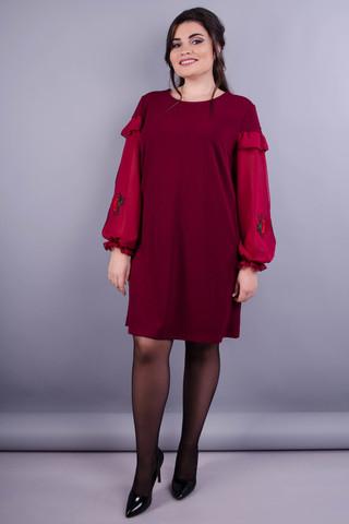 Роуз. Красива сукня для дам з пишними формами. Бордо.