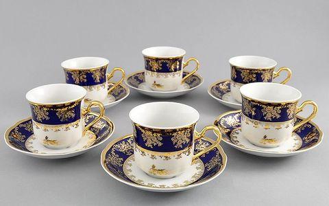 Набор чашек высоких с блюдцами 0,15 л 6 штук Мэри-Энн Leander