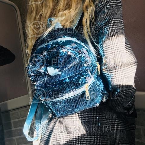 Рюкзак с пайетками и Бантом меняет цвет Голубой-Серебристый