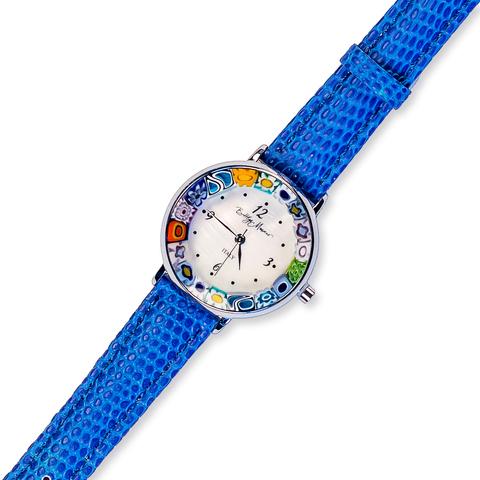 Часы на синем кожаном ремешке с разноцветным циферблатом