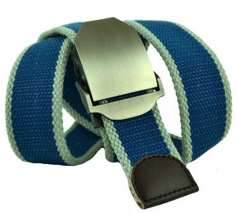 Ремень из ткани джинсовый мужской голубой со светло-серым стропа 4 см 40Stropa-050