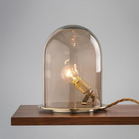 Ebb & Flow DI101689+LA101719 — Настольный светильник Glow in a Dome Lamp - Brass with Obsidian - 21 см