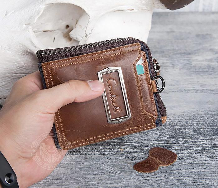 WL278-2 Необычное мужское портмоне из кожи с дополнительным отделением фото 14