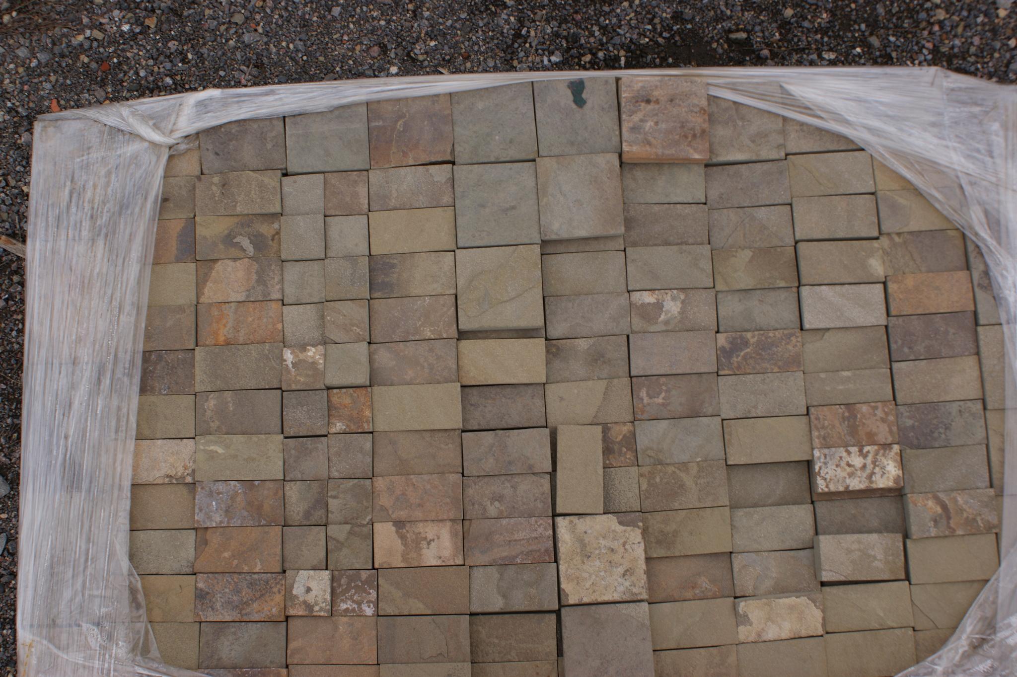 Набор плитки песчаник пиленный Серый кратно 5 см на поддоне