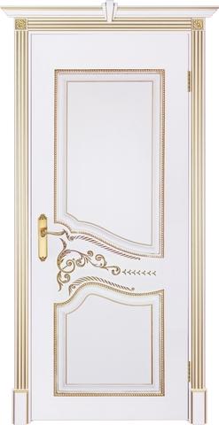 Дверь Prestigio Питти, цвет  белый/патина золото, глухая