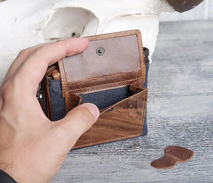 WL278-2 Необычное мужское портмоне из кожи с дополнительным отделением фото 16