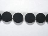 Бусина из агата черного матового, фигурная, 15 мм (круг, гладкая)