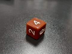 Куб D6: Коричневый 16мм с цифрами