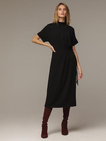 Женское черное платье из 100% шерсти - фото 3