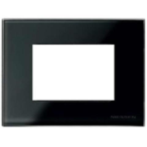 Рамка на 1 пост - 3 модуля, итальянский стандарт. Цвет Стекло чёрное. ABB(АББ). Niessen Zenit(Ниссен Зенит). N2473 CN
