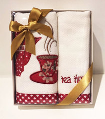 Набор махровых салфеток Новый год TEA TIME 2пр 40х60 красный Tivolyo Home Турция