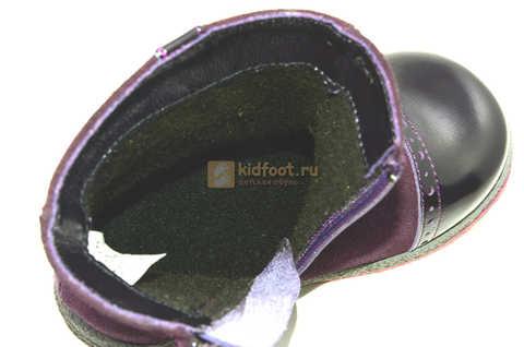 Демисезонные полусапожки Лель (LEL) из натуральной кожи на байке для девочек, цвет фиолетовый. Изображение 15 из 15.